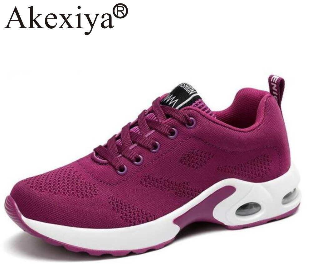 Akexiya New Arrival Women Four Seasons Sneakers Men Women Outdoor Sport shoes Purple Red Black Running Shoes Air Sole zapatos mu платье arefeva платья и сарафаны мини короткие