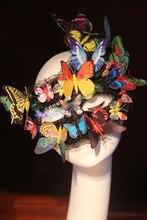 Новый Уникальный костюм ручной работы роскошь личность леди кружева завесу танец маски мяч принцесса красочные бабочки маска хэллоуина маски