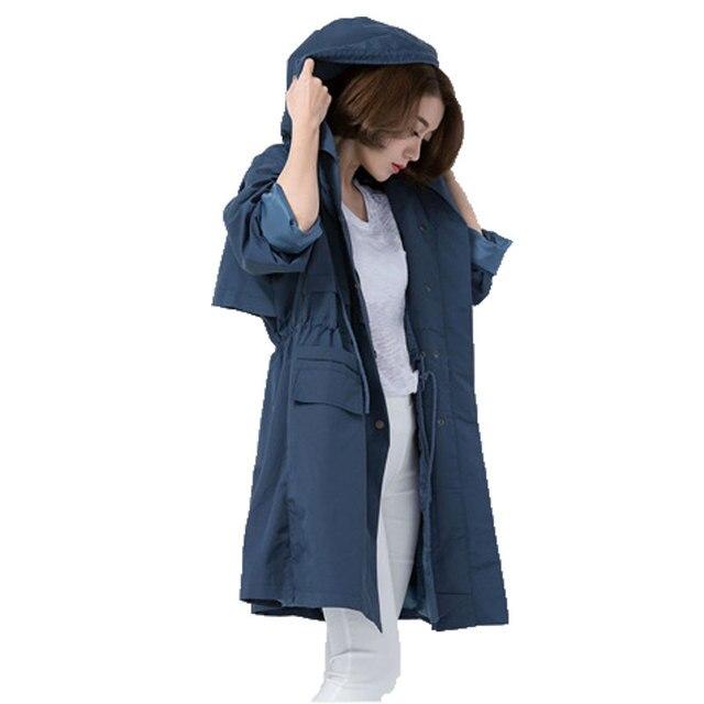 Дамы Пальто В Осенью 2016 Года Новые женские Корейских Женщин С Капюшоном Ветровка Длинное Пальто Шнурок Пальто долго