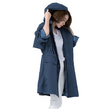 Ladies Trench Coat In The Autumn Of 2016 The New Women's Korean Female Hooded Windbreaker Long Coat Drawstring Coat Long