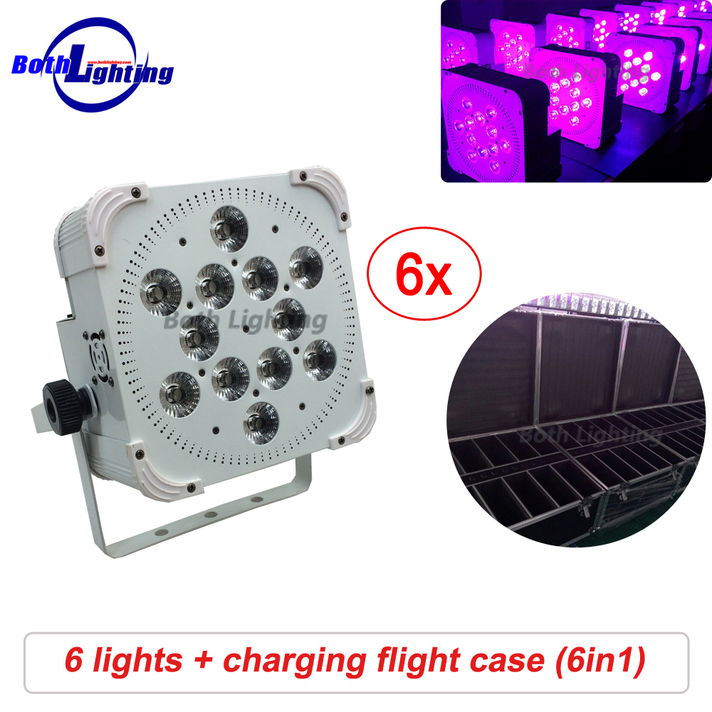 IRC&Wifi Stage light Wireless Power Battery LED Flat Par Can Light 12x18W RGBAW UV 6 in 1 LED Uplighting for wedding
