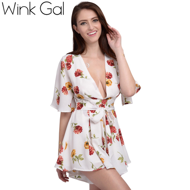 Wink Gal Mulheres Macacão Sexy Macacão Floral Impressão Playsuit Verão Kimono Shorts Beachwear 3110