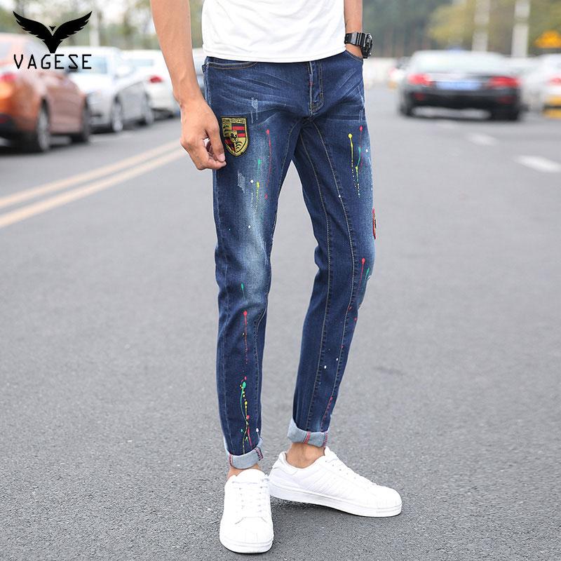 ФОТО Vagase Cool Jeans Men Straight Denim Jeans Trousers Size 28-42 Cotton Logo Brand Fashion Colorful Dot Slim Long Mens Jeans