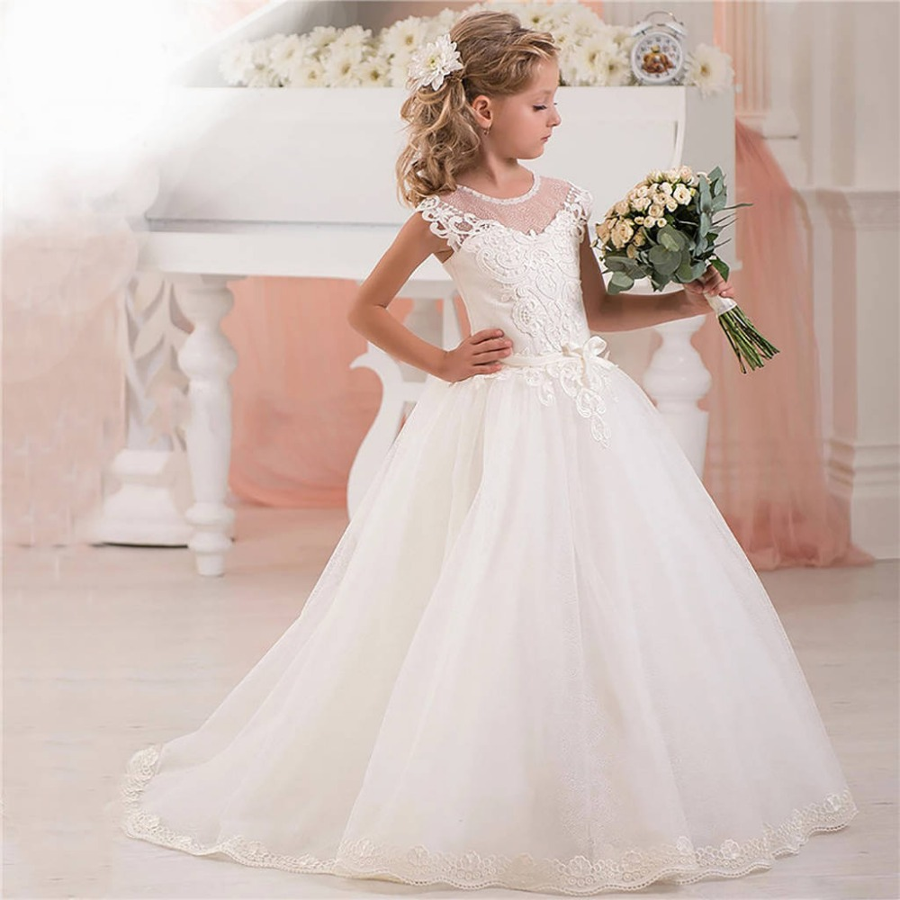 Beautiful White Sheer Neckline Flower Girl Dress for Wedding Lace Appliques Cap Sleeves Kids First Communion Gowns with Train