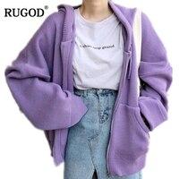 RUGOD New Korean Zipper Hooded Cardigan Women Autumn Knitted Jacket 2018 Casual Loose Long Sleeve Sweater Coat Casaco Feminino