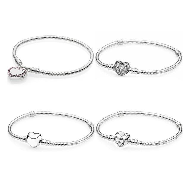 bb4236f4d7 Lock Your Promise Wishful Love Heart Clasp Bracelet Bangle Fit Pandora  Snake Bracelet 925 Sterling Silver Bead Charm Jewelry-in Chain & Link  Bracelets from ...