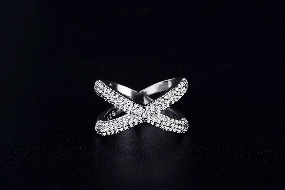 Solid Real 925 Sterling Silver rings for women X shape fashion wedding engagement jewelry anel aneis christmas gifts R4810 in Rings from Jewelry Accessories