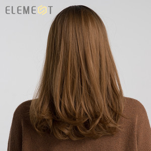 Image 4 - Element 16 Inch Synthetic Wig With Bangs Natural Headline Ombre Brown Color Fashion Cosplay Party Replacement Wigs for Women