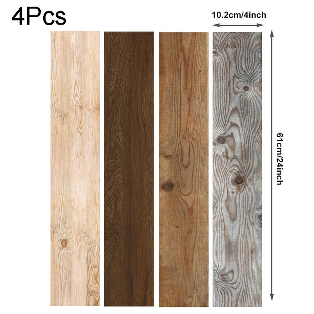 4Pcs Waterproof סימולציה לוח מדבקת Oilproof עצמי דבק אריח DIY חיקוי עץ רצפת עיצוב בית מטבח מדבקה