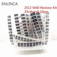 330Pcs 2512 Alloy resistance SMD Resistor Kit Assorted Kit 1ohm-1M ohm 5% 33valuesX 10pcs=330pcs DIY Kit 1R 3.3R 5.1R 10R 47R