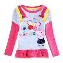Nova вышивка цветы футболка китайский футболки девочек длинным детская девушки рукавом