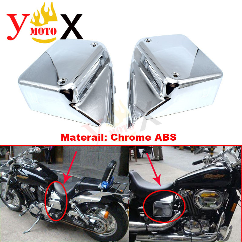 VT750 Motorcycle Chrome ABS Battery Cover Side Faring Cover Panel Frame Protector For Honda Shadow Spirit