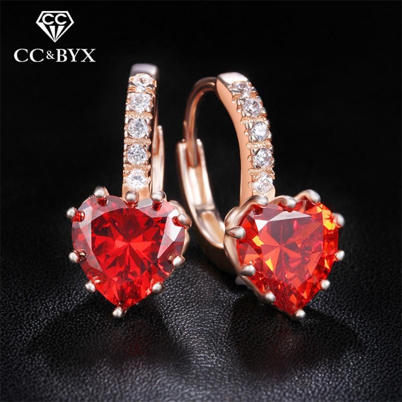 Wanita anting cinta hati pejantan anting kristal merah CZ halus 925 sterling perhiasan perak boucles d'oreilleos brincos E014