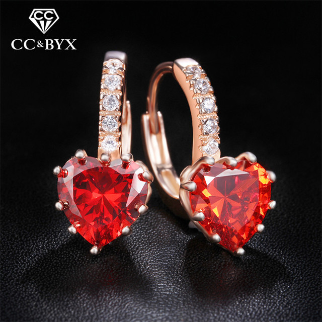 Women earrings rose gold color red crystal heart stud earring CZ 925 sterling-silver-jewelry boucles d'oreilleos brincos E014