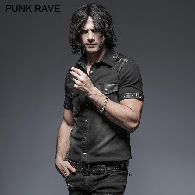 Punk Delírio Limitada Punk Blalanced Bolso Sólida Curto Chemise Homme Camisas do Homem Tie-tingido Dois Bolsos Y-638