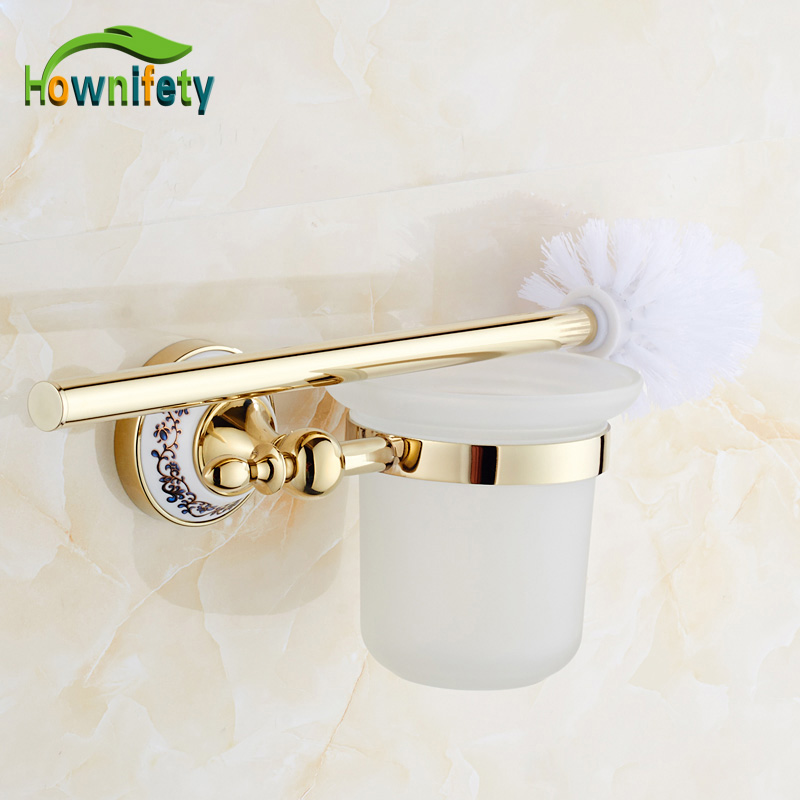 Solid Brass Gold Plate Toilet Brush Holder + Cup + Brush Blue & White Porcelain Bathroom Accessories Wall Mounted