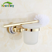 Solid Brass Gold Plate Toilet Brush Holder Cup Brush Blue White Porcelain Bathroom Accessories Wall Mounted