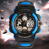 Kids Watches Anti Shock 5Bar Waterproof Outdoor Sport Children Watches Fashion Double Display Luminous Digital Wristwatches