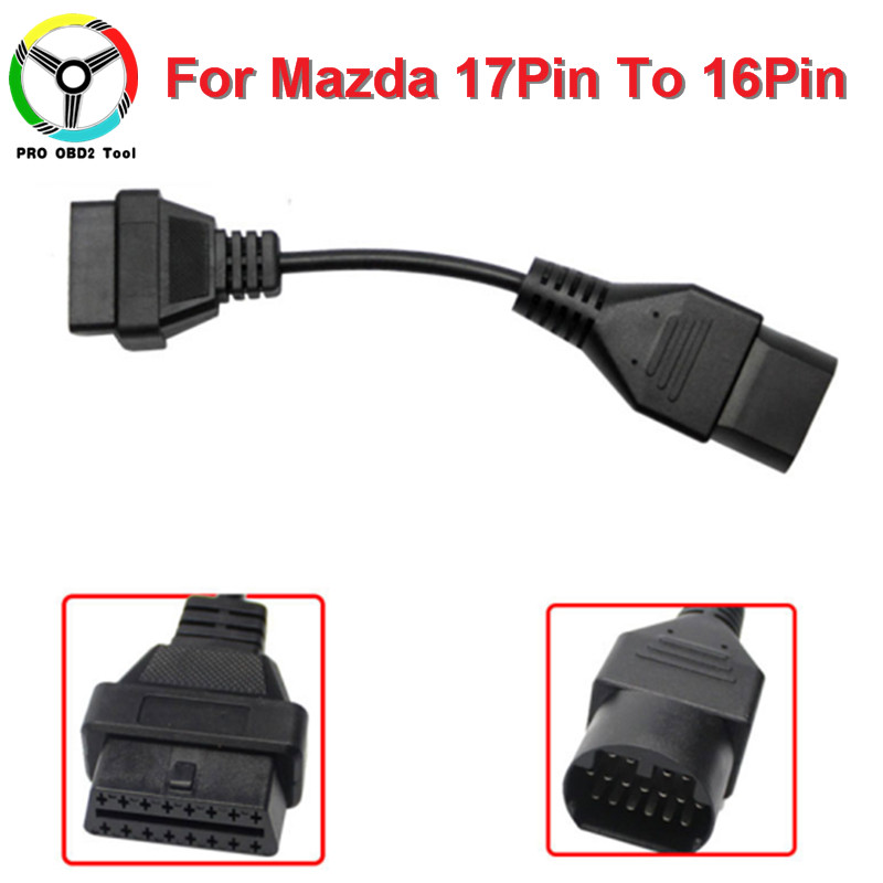 Newly For Mazda 17Pin To 16Pin OBD 2 OBD2 Cable Diagnostic Adapter Connector For Mazda 17 Pin To 16 Pin Scanner Code Connectors