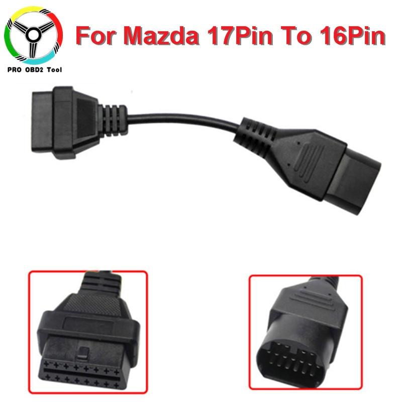 Mazda 17 pin Diagnose Adapter f/ür 16 pin OBD2 Stecker Adaptor Connector OBD OBDII