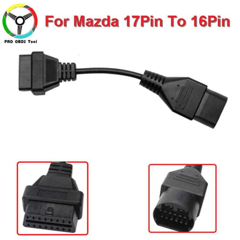 Nouvellement Pour Mazda 17Pin À 16Pin OBD 2 OBD2 Câble De Diagnostic adaptateur Connecteur Pour Mazda 17 Pin À 16 Pin Scanner Code connecteurs