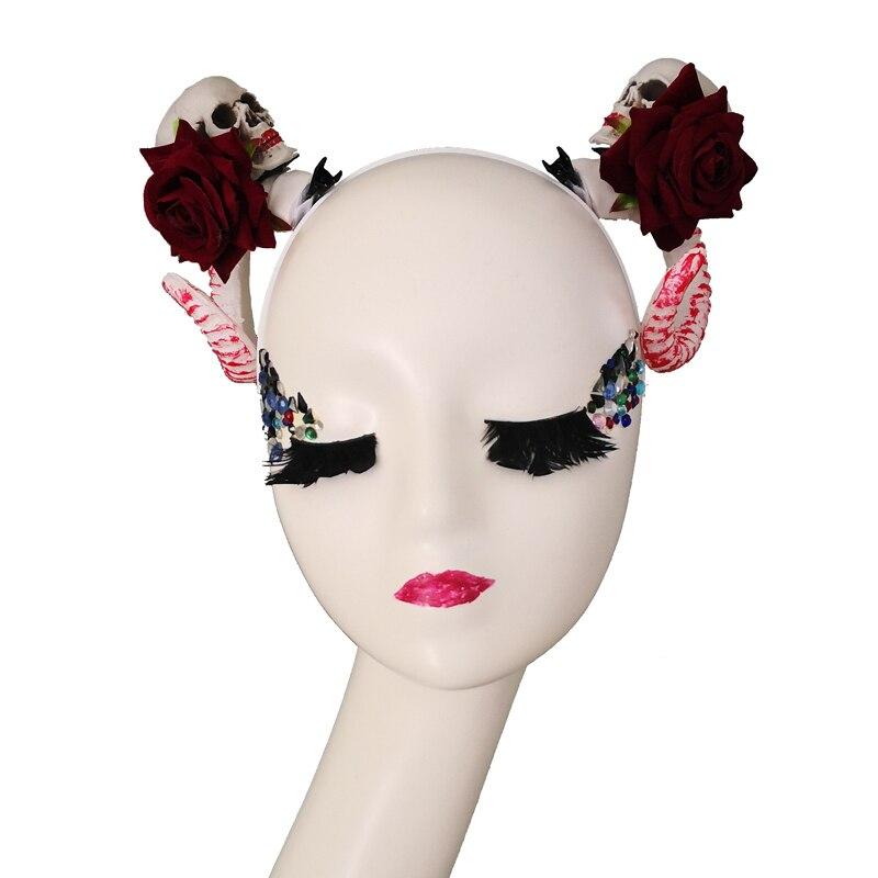 Gothic Lolita Devil Horns Headwear Soft Latex Mask Halloween Costume Cosplay