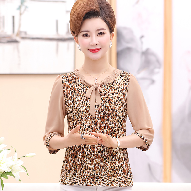Women Summer Blouses Khaki Blue Leopard Print Crepe Tops Female Short Sleeve Bowknot Round Collar Tunic Woman Casual Blouse 2019 in Blouses amp Shirts from Women 39 s Clothing