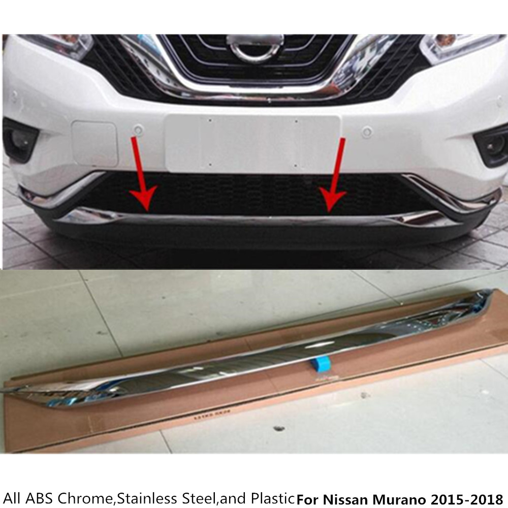 Top For Nissan Murano 2015 2016 2017 2018 car body bumper engine ABS Chrome trim Front bottom Grid Grill Grille edge panel 1pcs car styling cover bumper engine abs chrome trim bottom front grid grill grille edge lamp frame panel 1pcs for vw aud1 a4l 2017