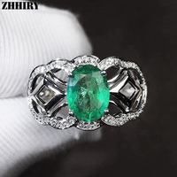 ZHHIRY Women Genuine Natural Emerald Ring 925 Sterling Silver Rings Real Gemstone 5*7mm Fine Jewelry Royal Noble