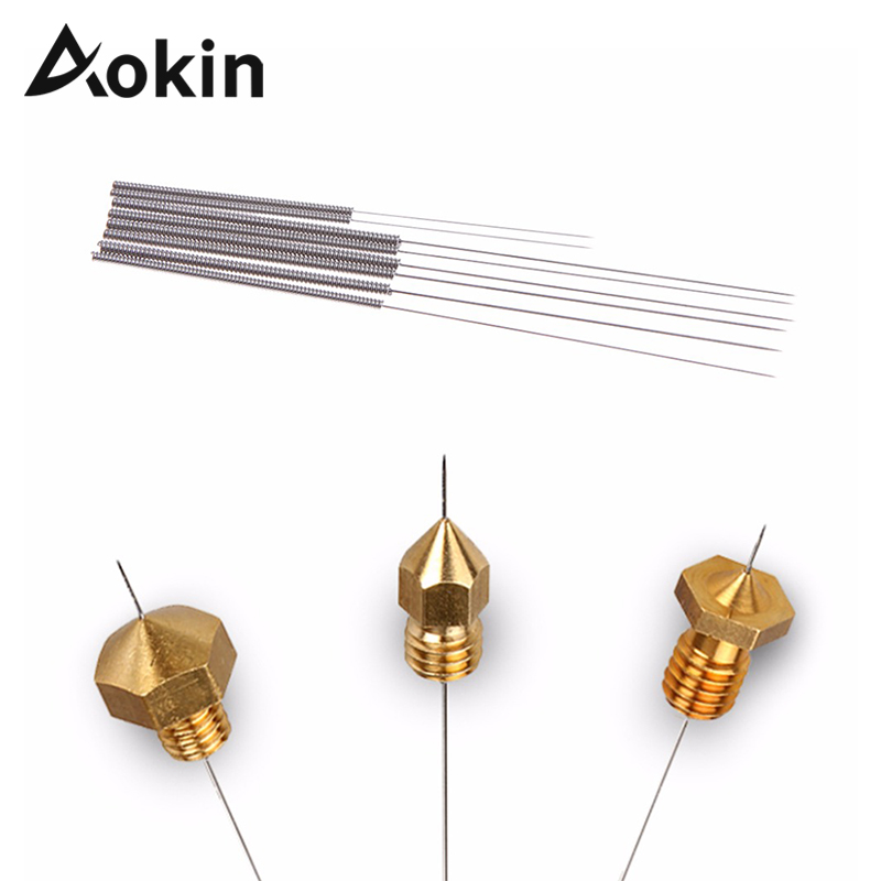Aokin 5pcs Stainless Steel Nozzle Cleaning Needle 0.15mm 0.2mm 0.25mm 0.3mm 0.35mm 0.4mm Part Drill For Nozzle 3D Printers Parts
