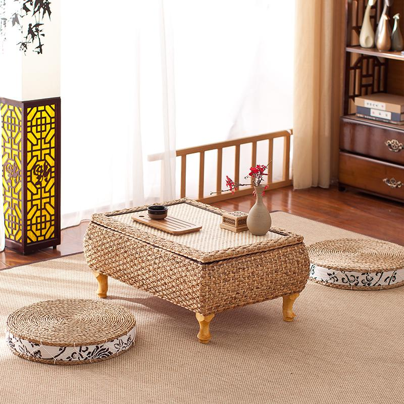 Us 87 54 Rattan Anese Style Bay Window Table And Stool 3 Sets Of Combination Garden Tea Low Balcony Straw Coffee In