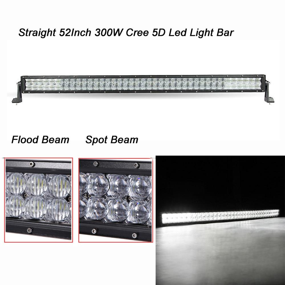 5D 52 INCH 300W Straight Cree Led Light Bar 100pcs 3W Cree Led Chips 30000LM Combo Beam IP67 for 12v 24v 4X4 ATV 4WD SUV UTE 3 3 300 30000