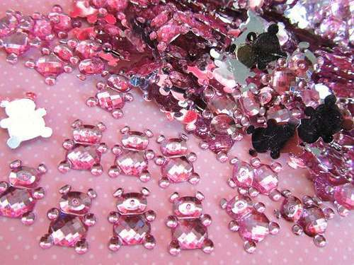 100pcs/lot Acrylic Teddy bear Crystal Rhinestones Baby Shower Favor Table Scatter Confetti Girl Shower Boy Show Decoration