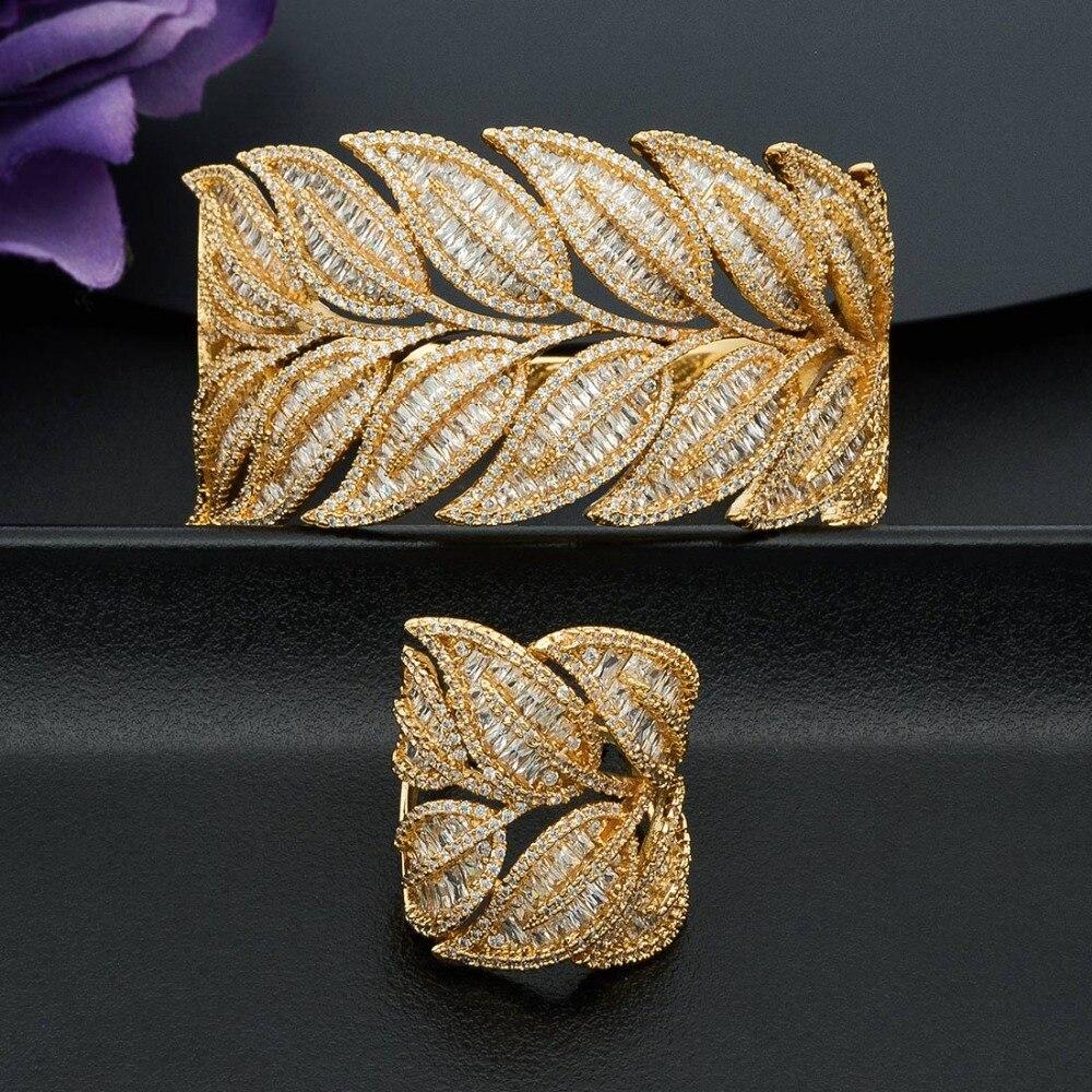 ModemAngel Super Luxury Leaf Super Shiny AAA Cubic Zirconia Women Bracelet Bangle Ring Set Dress Jewelry
