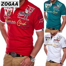 Short Sleeve Casual T Shirts Turn-down Collar Letter Polyester Men Fashion Personality 2019 T Shirt Men ZOGAA недорого