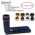 APEXEL 12X Zoom Telephoto Telescope Lens with Wide Angle & Macro Fisheye Fish eye Lens for iPhone SE 5/5s 12X85