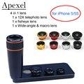 APEXEL Lente Do Telescópio 12X Zoom Telefoto com Wide Angle & Macro Fisheye Lente olho de Peixe para o iphone SE 5/5S 12X85