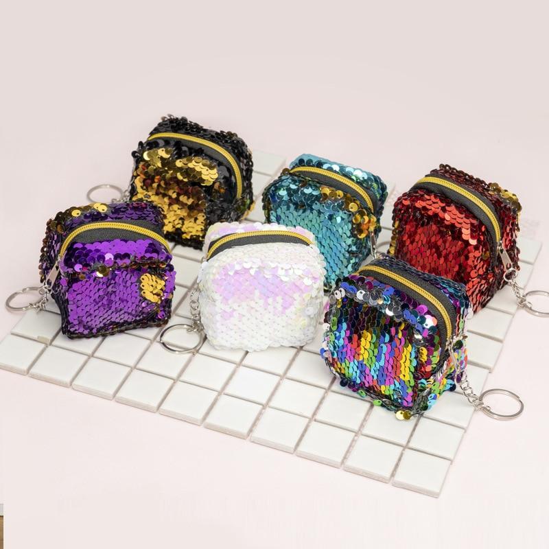 6cm*6cm*5cm Cute Novelty Cuboid Bling Sequin Zipper Plush Coin Purse Kawaii Children Coin Purse Women Wallet Mini Handbag