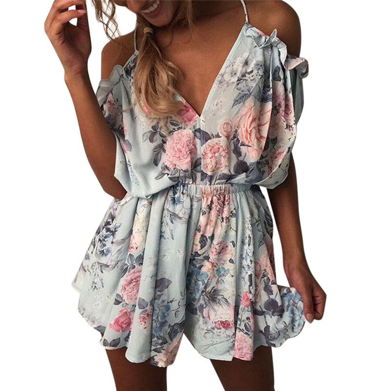 Fashion Summer Womens Playsuits Camis V Neck Floral Print Rompers Sleeveless Evening Party Beach Jumpsuit Elegant Holiday #L05