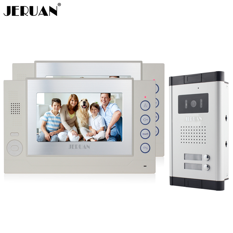 JERUAN Apartment 7 inch LCD color Video Door Phone Record Intercom System 2 Monitor 700TVL IR COMS Camera for 2 Call Button wireless service call bell system popular in restaurant ce passed 433 92mhz full equipment watch pager 1 watch 7 call button