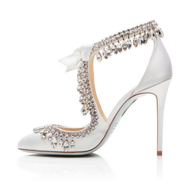 Zapatos de boda de satén blanco elegante de novia Bling de cristal borla de encaje de tacón alto de mujer plus tamaño 10 - 3