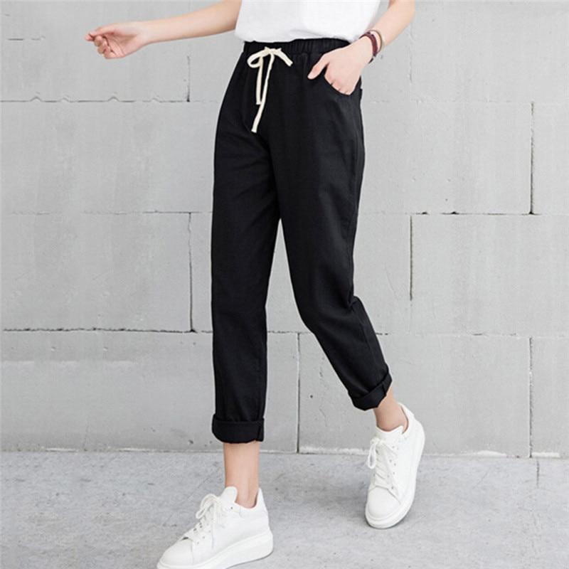 Women Casual Solid Elastic Waist Trousers 2018 Spring Autumn Cotton Linen Harajuku Long Pants Ankle Length Haren Pants