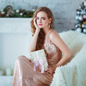 Image 5 - שמלת ערב Sparkle אי פעם די ארוך עמוק V צוואר 2020 טבעי מותן EP07109GY רשת צלב חזור מבריק נצנצים שמלת ערב שמלות