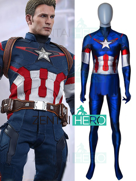 Free Shipping 3D Printed Comic Captain America Cosplay Costume Zentai Age of Ultron Version Superhero Halloween Costume Bodysuit