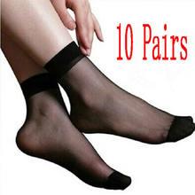 63b72789be7 10 Pairs Summer Black Khaki Pure Color Ultra Thin Silk Girl Short Fashion  Hot Sexy Women  Lady Ankle Low Cut Socks
