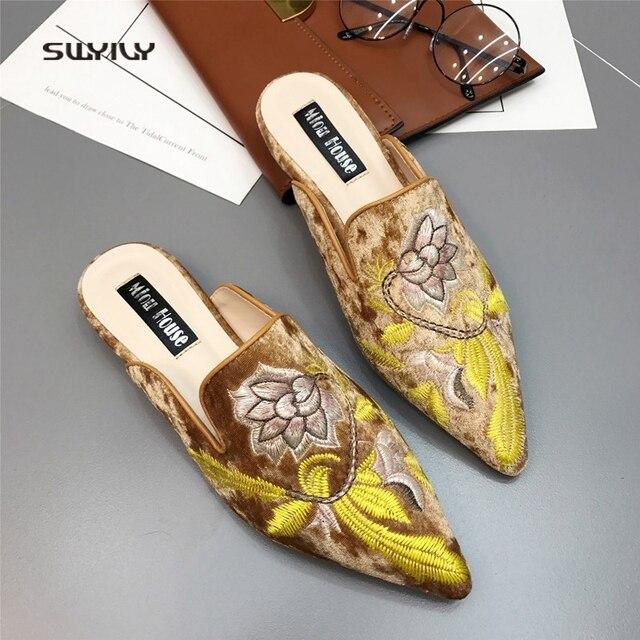 SWYIVY 여성 플랫 Muler Shoes Embriodery 2018 여성 캐주얼 신발 골드 벨벳 빈티지 플라워 레이디 하프 슬리퍼 41 Plus Size