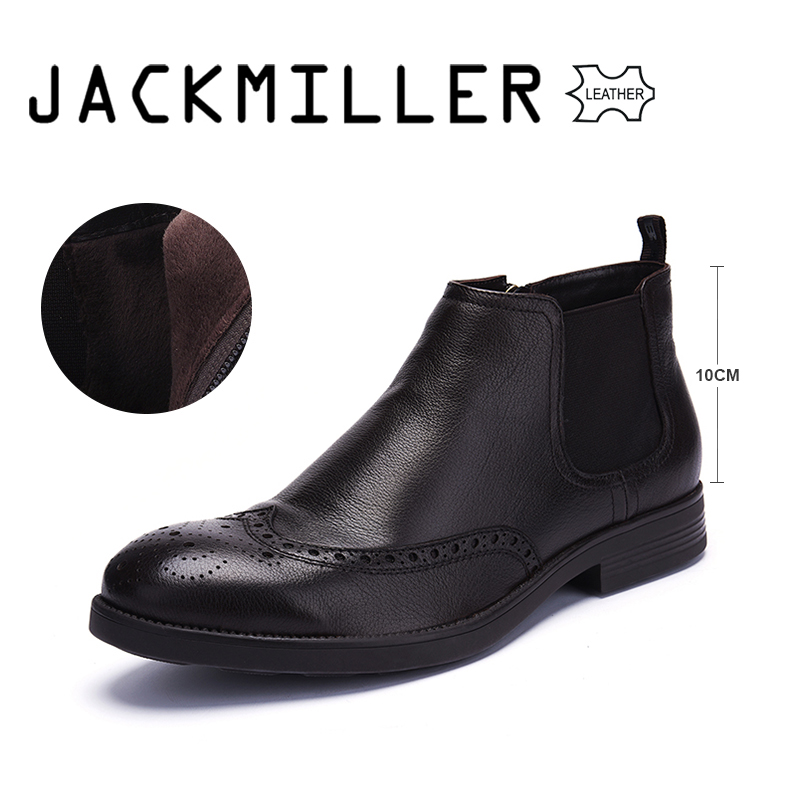 Jackmiller New Arrival Men Boots Spring&Autumn Cow Leather Chelsea Boots Dark Brown Full Grain Leather Boots Men Big Size 40-44