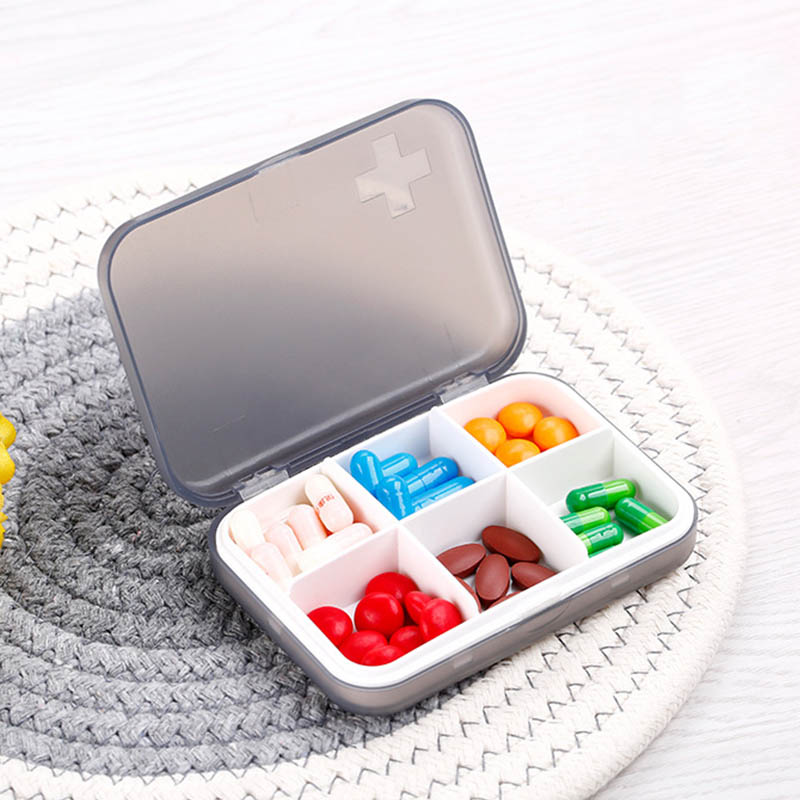 Medicine Box Jewelry Organizer Cross Emboss 1 PC 6 Cells Drugs Container Pill Cases Capsule Storage Tools No-toxic