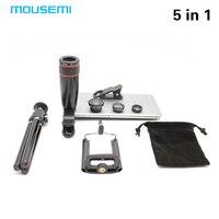 5w1 MOUSEMI 8X Teleskop Obiektyw Kamery Telefonu komórkowego Uniwersalna Aluminiowa Mini Statyw z Uchwytem Stoisko Lentes 3w1 Fisheye Soczewki