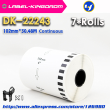 7 Refill Rolls Compatible DK-22243 Label 102mm*30.48M Continuous Compatible for Brother QL-1060 Label Printer White Paper DK2243
